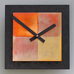 8x8 Square Wall Clock - Black with Copper