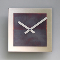 8x8 Square Wall Clock - Steel with Blue Copper